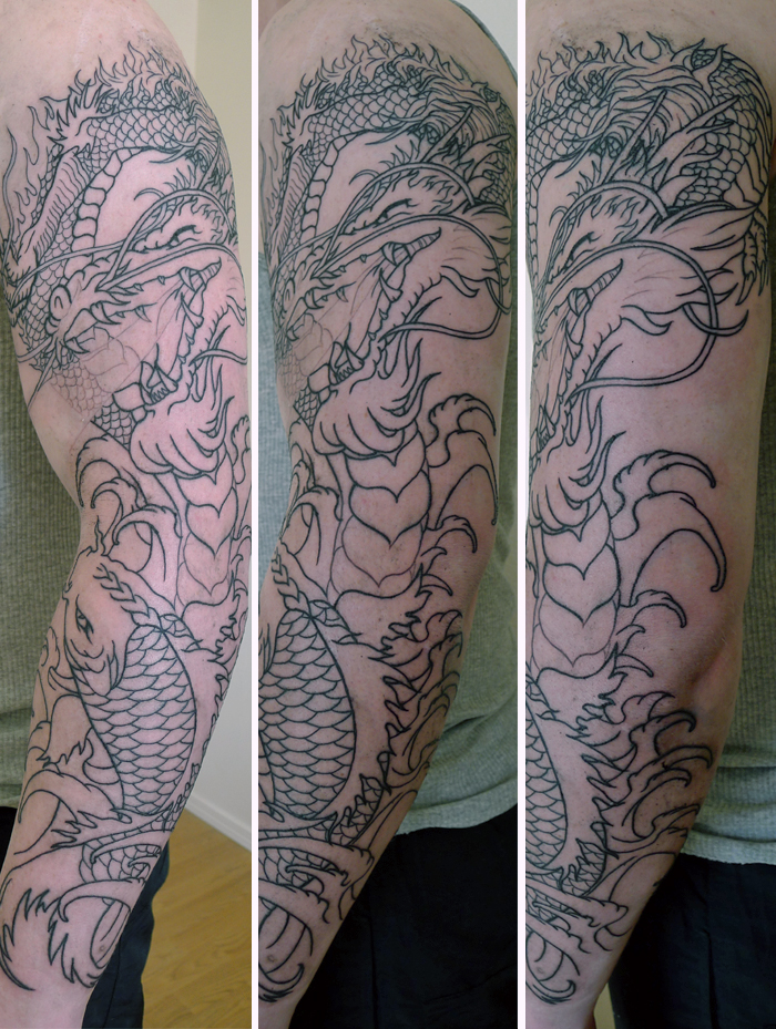 dragon and koi fish